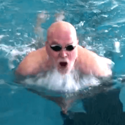 Kevin breaststroking